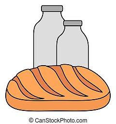 milk bottle with bread