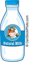 Milk Bottle With Cartoon Cow