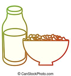 milk bottle with cereal