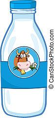 Milk Bottle With Cow Head Label - Milk Bottle With Cartoon...