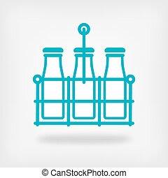 milk bottles in basket on white background