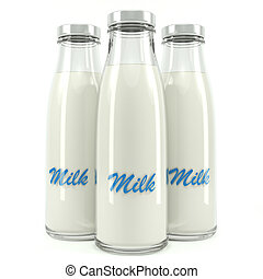 Milk bottles isolated