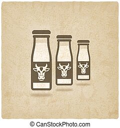 milk bottles with cow label