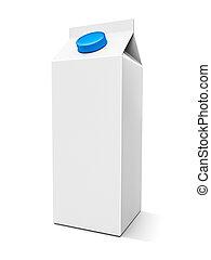 Milk box - Blank milk box on the white background