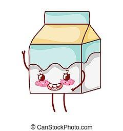 milk box breakfast food cute kawaii isolated icon
