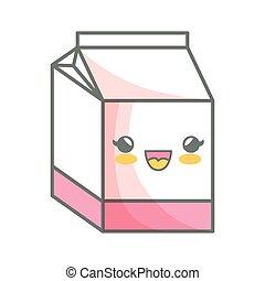 milk box carton kawaii style isolated icon