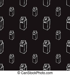 Milk box doodle seamless pattern on black
