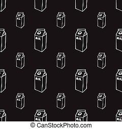 Milk box doodle seamless pattern on black