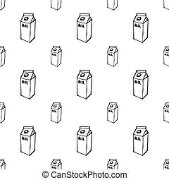 Milk box doodle seamless pattern on white