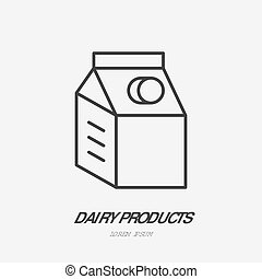 Milk box flat logo, kefir icon. Dairy product vector...