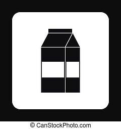 Milk box icon, simple style