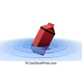 milk box in water