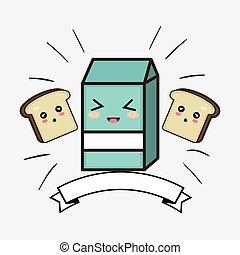 milk box kawaii cartoon