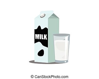Milk box on white background