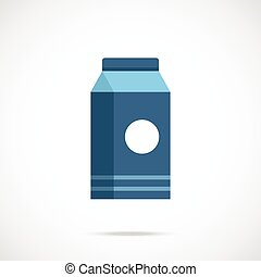 Milk box package flat icon
