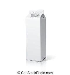 Milk box packaging design, vector illustration