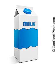 Milk box with custom design on white.