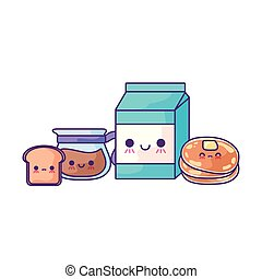 milk box with set food kawaii style