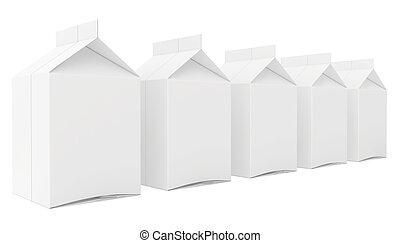 milk boxes. 3d render on white background