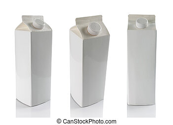 milk boxes isolated over a white background - still life of...