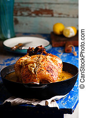 milk braised dijon chicken. style rustic
