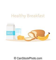 milk bread cheese banana healthy breakfast vector illustration cartoon