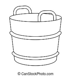 Milk bucket icon in outline style isolated on white...