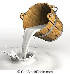 Milk bucket - Very high resolution 3d rendering of a bucket...