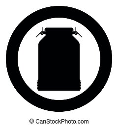 Milk can container icon black color illustration in circle round