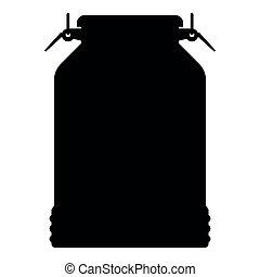Milk can container icon black color illustration