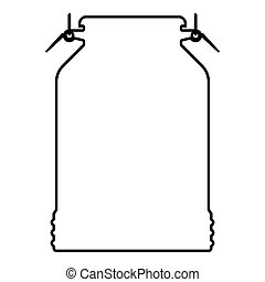 Milk can container icon black color illustration outline