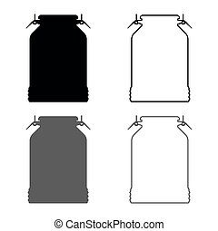 Milk can container icon set grey black color illustration outline flat style simple image