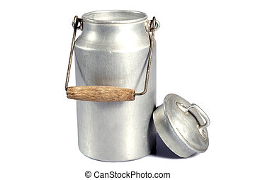 milk canister - old aluminum milk can on a white background