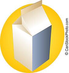 Milk carton illustration with orange background