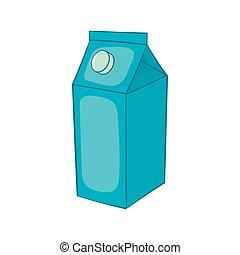 Milk carton icon, cartoon style