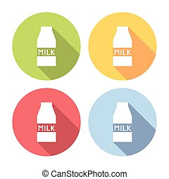 Milk Carton Package Flat Icons Set