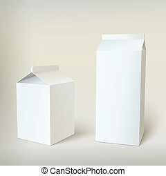 Milk Carton Packages Blank White, vector for your design