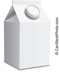 Milk carton with screw cap.