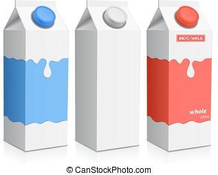 Milk carton with screw cap - Collection of milk boxes. Milk...