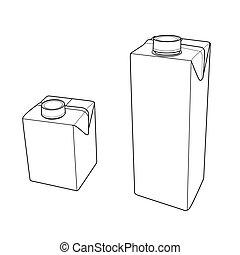 Milk carton with screw cap outline - image of Milk carton...