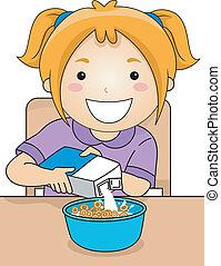 Milk Cereal Girl - Illustration of a Little Girl Pouring...