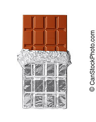 Milk chocolate bar in silver foil, half opened, isolated on white