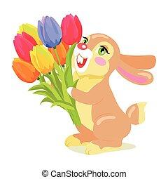 Milk Chocolate Bunny with Luxury Bouquet of Tulips