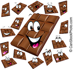 milk chocolate cartoon with many expression isolated on...