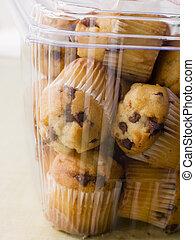 Milk Chocolate Chip Muffins In A Plastic Box
