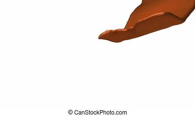 Milk chocolate flow, slow motion