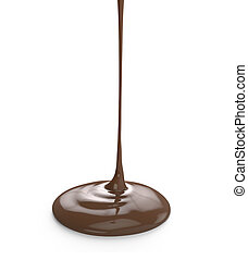milk chocolate pouring isolated