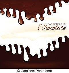 Sweets dessert molten chocolate splash drips background vector illustration