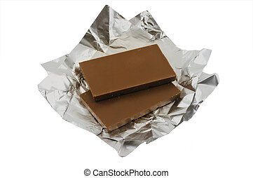 Milk chocolate with foil isolated on white background
