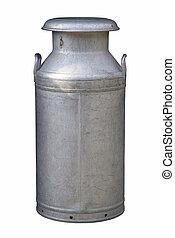 Old fashioned milk churn, isolated on white.